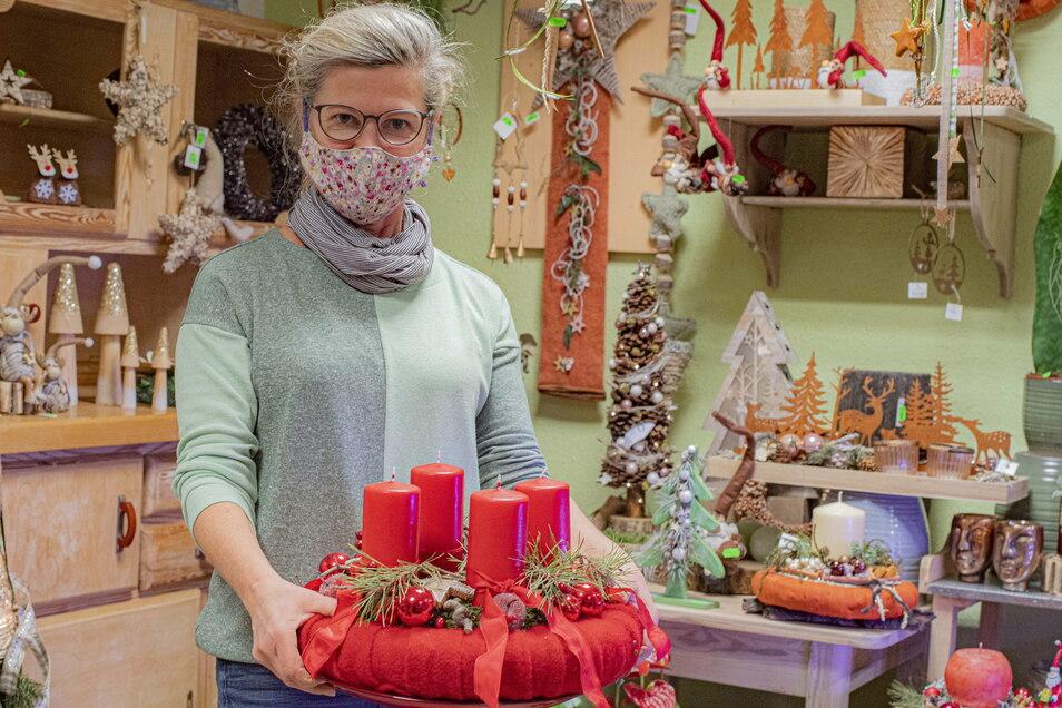 Sie freut sich am Sonntag noch einmal auf Kunden: Heike Arnold von Heikes Blumenstübchen in Königsbrück.