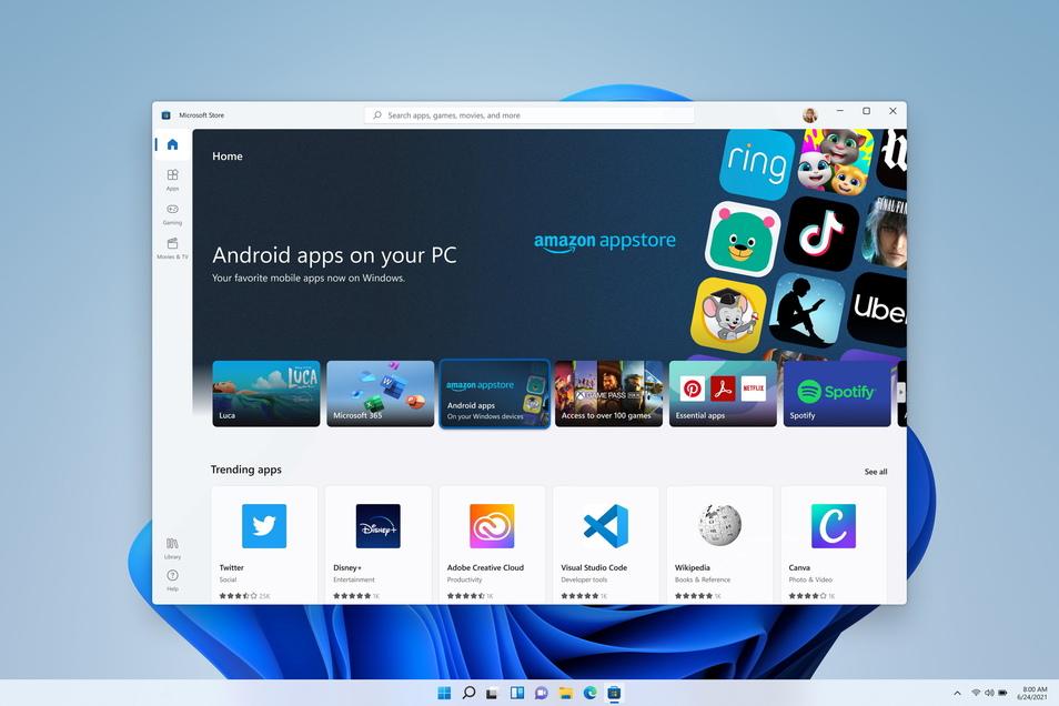 Neuer Microsoft Store, neue Möglichkeiten: Via Amazon sollen sich nun auch Android-Apps herunterladen und unter Windows 11 nutzen lassen.