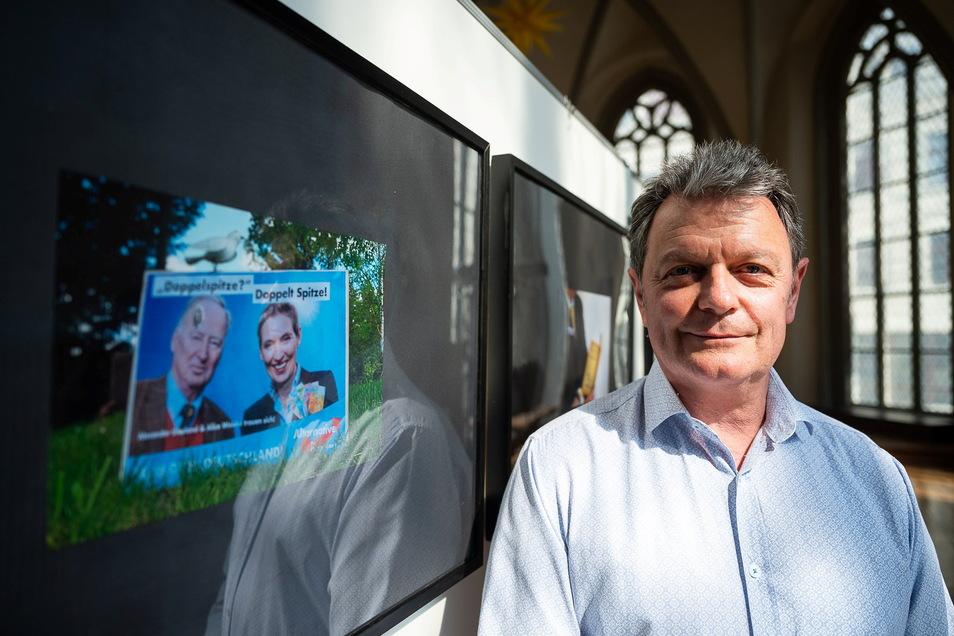 Matthias Beier leitet die Foto-AGs an drei Görlitzer Schulen. Fotoarbeiten, bei denen er die Schüler begleitete, sind jetzt in der Annenkapelle zu sehen.