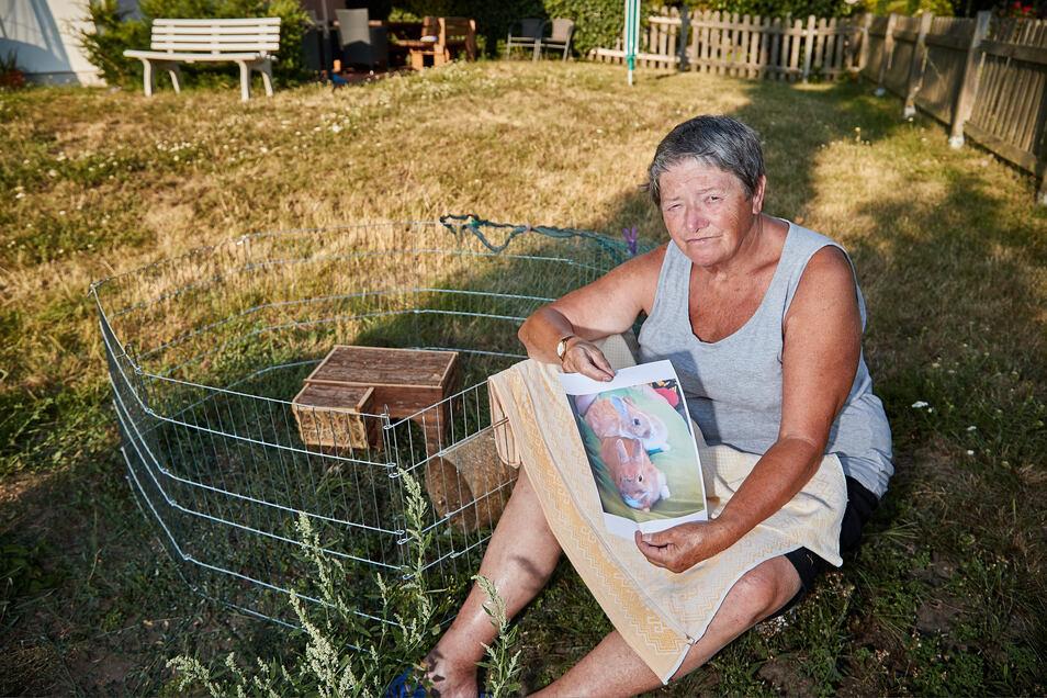Sieglinde Heinrich mit Kaninchen-Suchbild in ihrem Garten in Birkwitz, am verwaisten Häschen-Gehege: Wer hat Möhre und Erbse gestohlen?