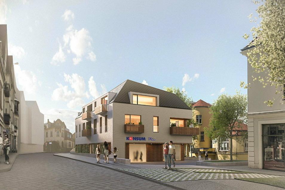 Diesen Neubau hat im Wettbewerb das Büro Muetze Gunkel Architektur Partnerschaftsgesellschaft mbB für den Weißen Hirsch vorgesehen.
