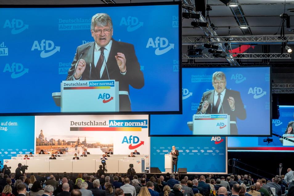 Jörg Meuthen bei seiner Rede in der Dresdner Messehalle