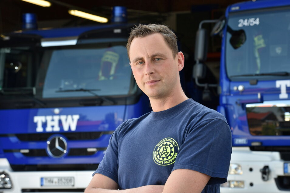 Lars Werthmann leitet den Ortsverein Dippoldiswalde des Technischen Hilfswerks (THW). Für das THW ist er jetzt in Griechenland im Waldbrandeinsatz.