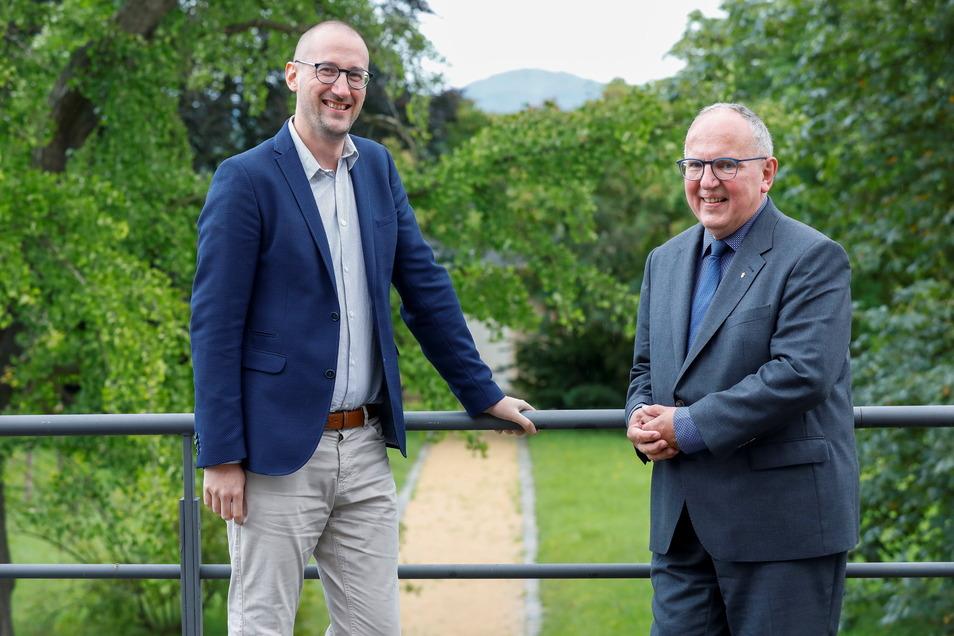 David Heuckeroth (links) übernimmt einige Aufgaben von Diakon Volker Krolzik - vor allem in der Hospizarbeit in Herrnhut.