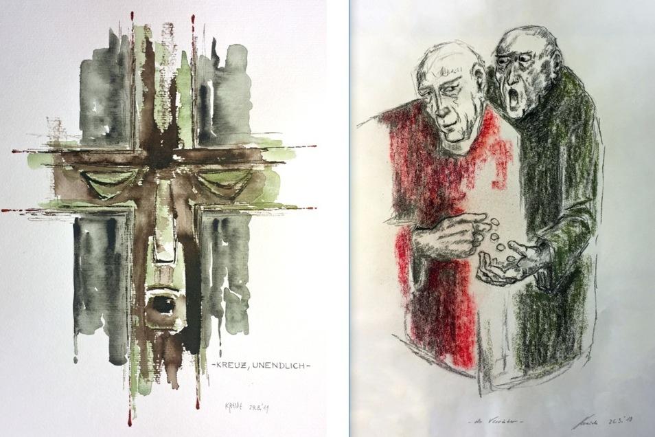 """Zwei der Bilder, die nun in der Künstlergilde angeboten werden: """"Kreuz, unendlich"""" ist 2011 entstanden. Das Pastellgemälde """"Der Verräter"""" (rechts) schuf Kreide 2010."""
