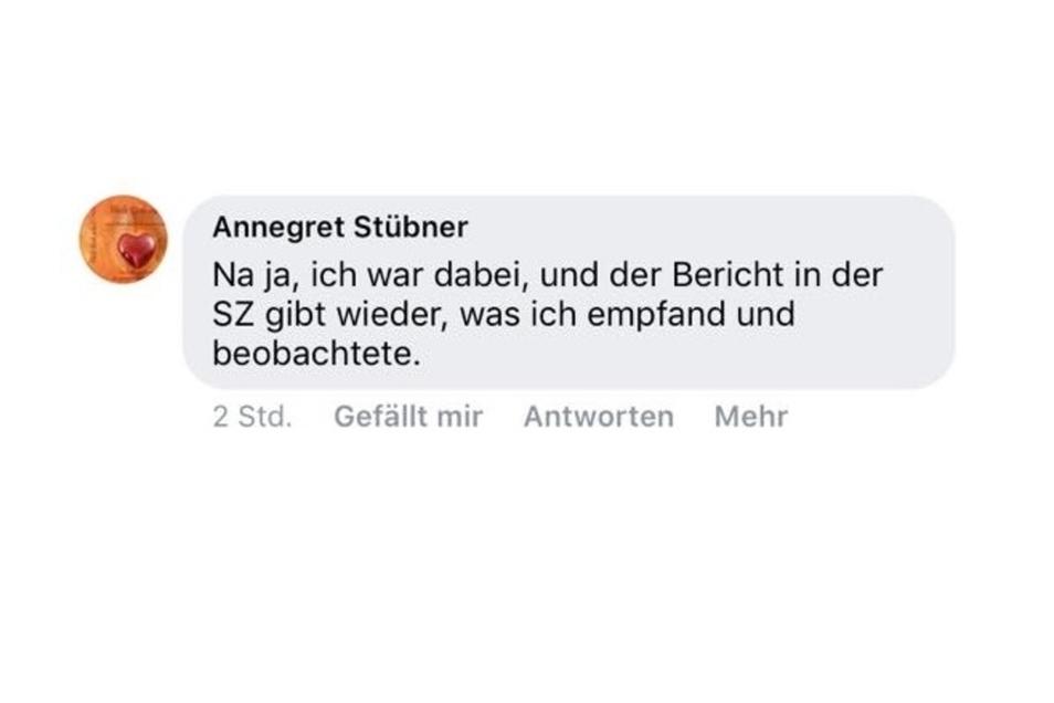 Die 61-jährige Annegret Stübner äußert sich bei Facebook über die Berichterstattung der SZ zum AfD-Kreisparteitag