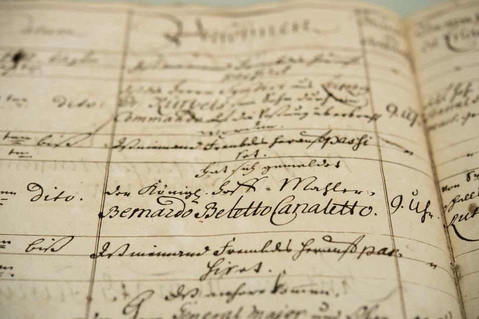 Der Eintrag im Eingangsjournal über den Aufenthalt Canalettos auf der Festung am 21. Juni 1754.