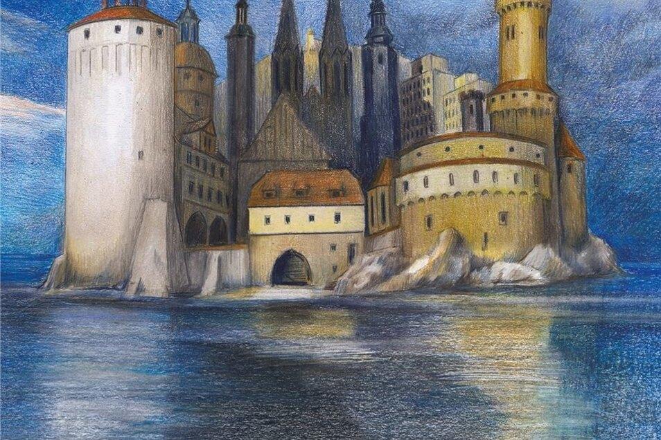 """""""Görlitz-Insel"""" mit Maus: Inspiration für diese fröhlichere Version von Neumann-Nochten war das Gemälde """"Die Toteninsel"""" von Arnold Böcklin."""