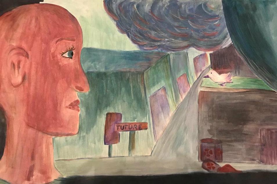 Ein trauriger Blick aus dem Fenster - hinaus in eine zerstörte Zukunft. Nicht nur Waffen zerstören die Welt, wie Hanna Metzners Bild zeigt. Die Friedenstaube rechts soll für die letzte Hoffnung stehen, sagt die Schülerin.