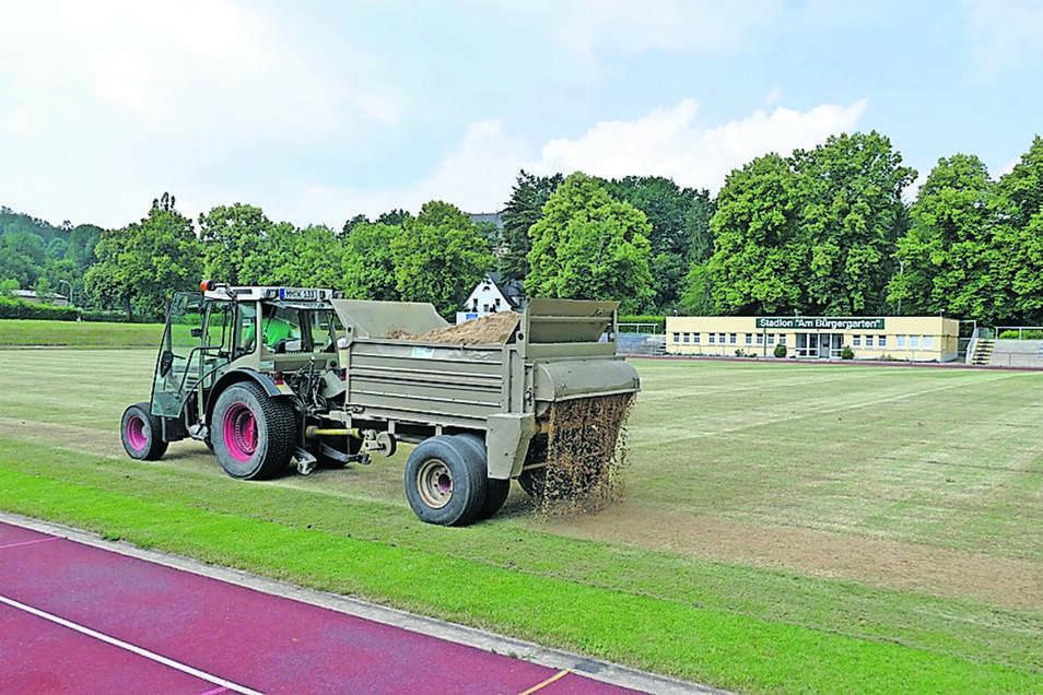 In der vergangenen Woche hat eine Firma mit Großtechnik begonnen, den Rasen im Stadion Bürgergarten aufzupäppeln. Hier wird er gerade gesandet.