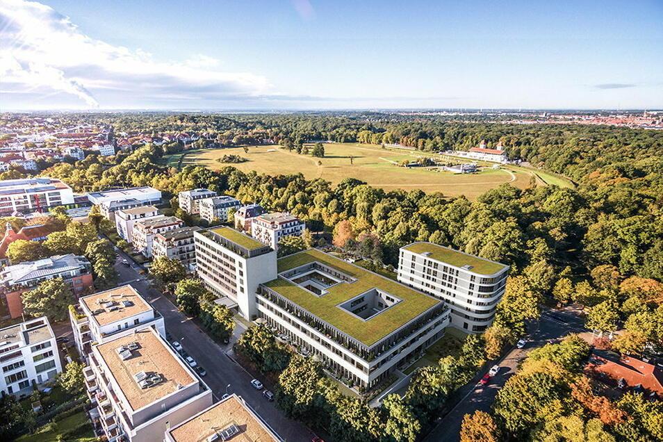 """So soll das ehemalige """"Gästehaus am Park"""" des DDR-Ministerrates nach der Sanierung aussehen. Zusammen mit einem Anbau (vorn rechts) entstehen in dem Gebäudekomplex 121 Wohnungen und kleine Appartements."""
