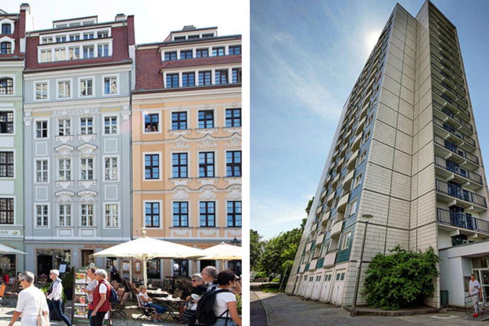 In der Dresdner Altstadt sind die Wohnungen am teuersten, in Gorbitz am günstigsten.