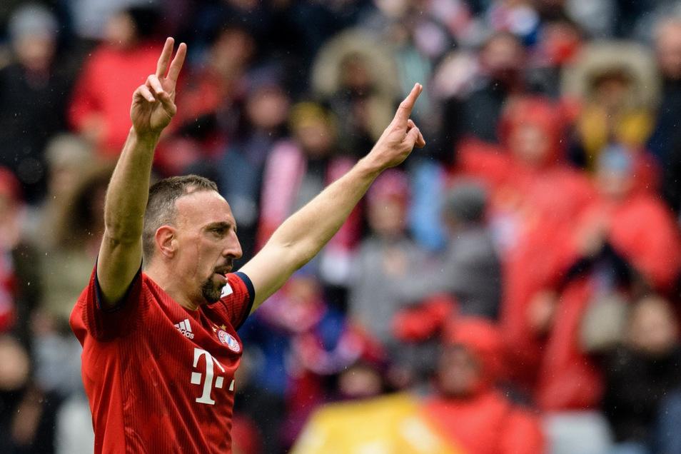 Franck Ribery sorgte mit seinem Tor zum 3:1-Endstand für den emotionalen Schlusspunkt. Es könnte der letzte Treffer des Franzosen für den FC Bayern gewesen sein.