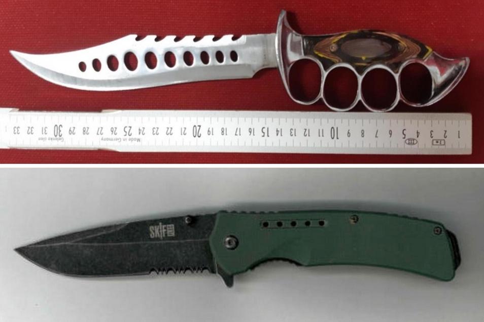Diese beiden Messer haben Bundespolizisten sichergestellt.