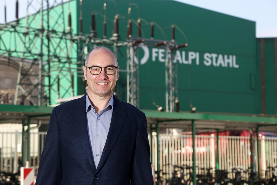 Christian Dohr ist seit diesem Jahr Werksdirektor bei Feralpi Stahl in Riesa. Das Unternehmen war jetzt beim Stahlgipfel des Wirtschaftsministeriums dabei.