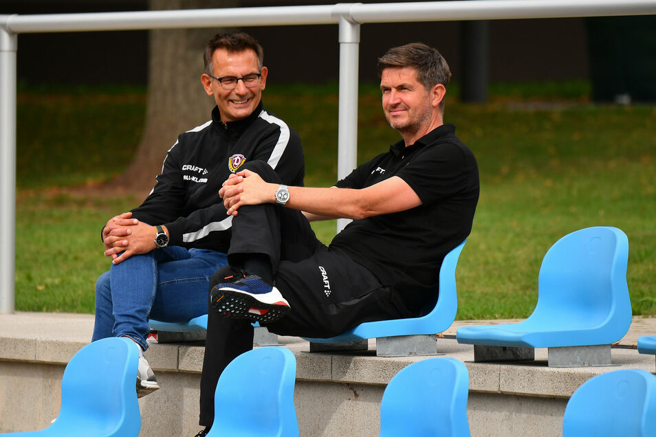 Ralf Becker mit Geschäftsführer Michael Born während des Trainingslagers.