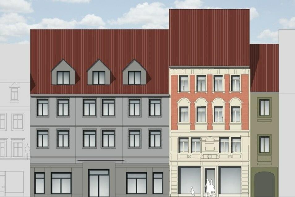 So soll die Rossmann-Fassade in der Reichenberger Straße in Zittau nach dem Bau aussehen.