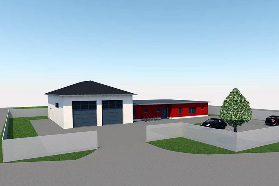 So soll das neue Gerätehaus in Großdrebnitz nach einem Entwurf des Neukircher Büros Bauplanconcept aussehen.
