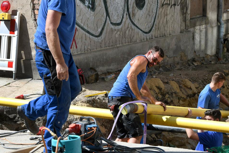 Franz Eifler (Mitte) bei den Bauarbeiten an der Zittauer Amalienstraße. Die Firma Osteg verlegt hier gerade neue Versorgungsleitungen.