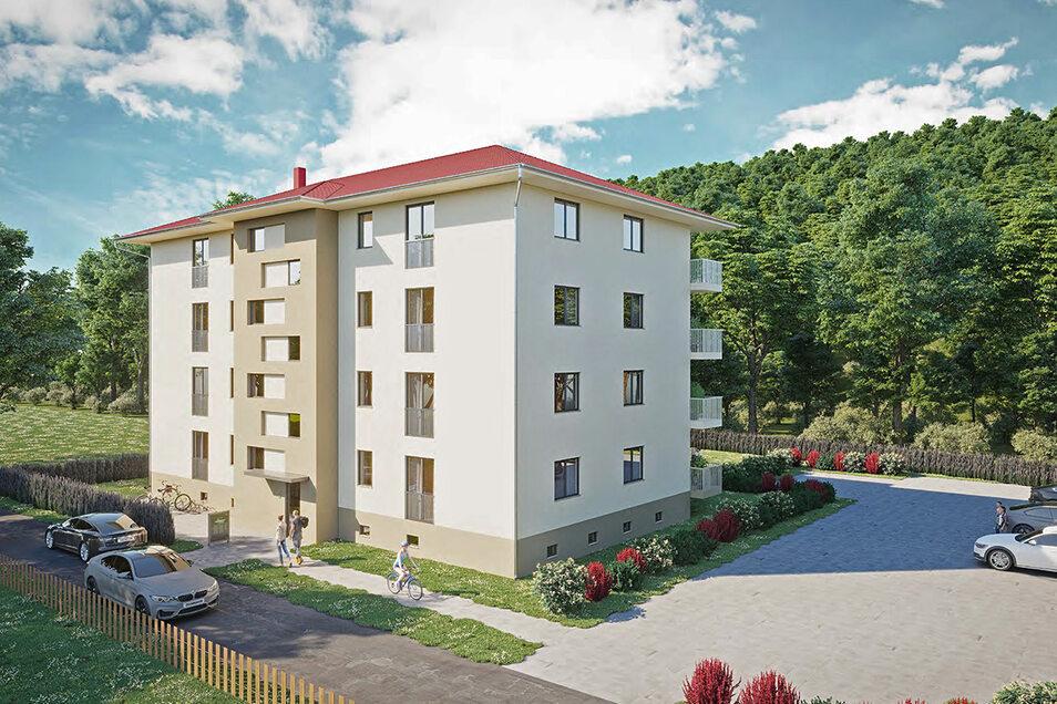 So soll das Wohnhaus einmal aussehen, das der Dresdner Immobilienunternehmer Bertram Mayer an der Weißeritztalbahn in der Talsperrenstraße in Dipps 2022 bauen will. Früher stand hier ein Behälterbau.