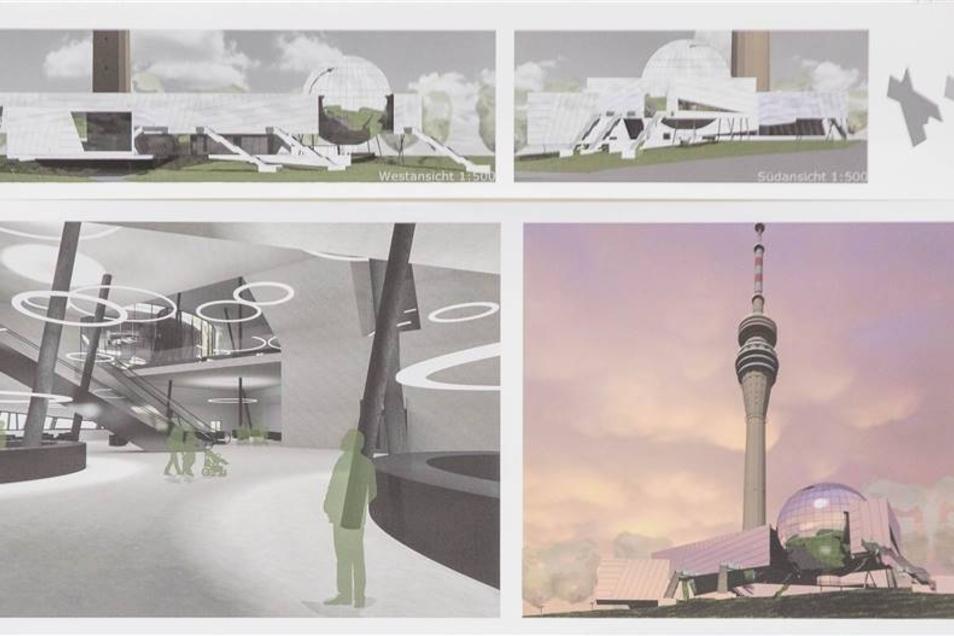 Nutzungs-Entwurf des Fernsehturms von Peter Hardt.