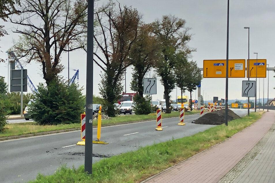 Blick auf die Baustelle Washingtonstraße: Hier stehen Autofahrer derzeit fast immer.