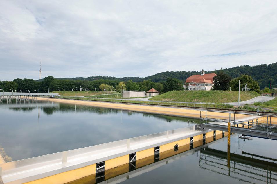 Das Wasserwerk Hosterwitz wird noch leistungsfähiger. Vorn ist eines der beiden Becken zu sehen, in dem sich bei der Vorreinigung der Schlamm absetzt. Der wird in die bereits außen begrünten Speicher gepumpt, von denen einer hinter dem Becken zu sehen ist