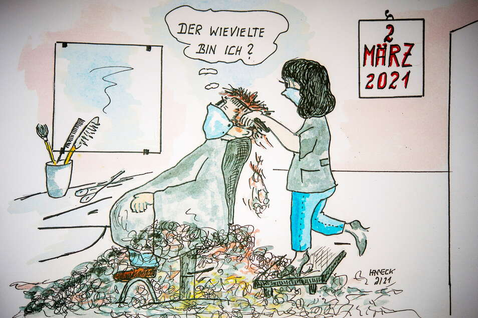 Auch der beliebte Großenhainer Karikaturist Uwe Hanneck hat die Zeichen der Zeit erkannt und widmete der Friseuröffnung am 1. März 2021 seine eigene zeichnerische Sicht der Dinge.