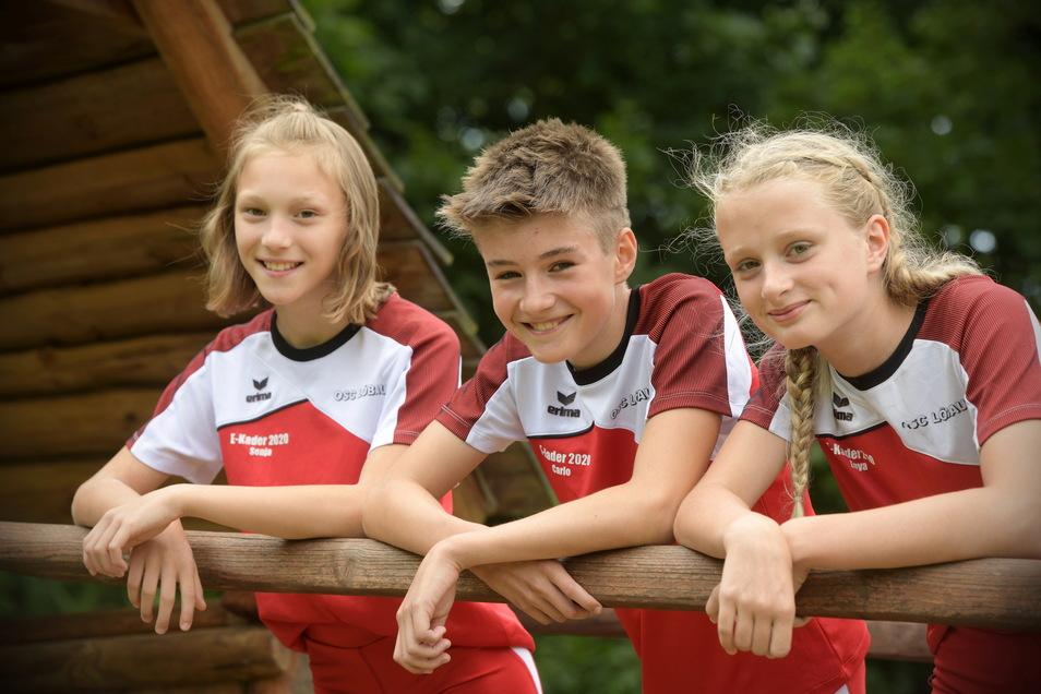 Für sie geht's es bald an die Sportschule: Enya Schmidt, Carlo Ziesche und Sonja Reck (von rechts) von der Leichtathletikabteilung des OSC besuchen mit dem neuen Schuljahr die DSC-Sportschule in Dresden.