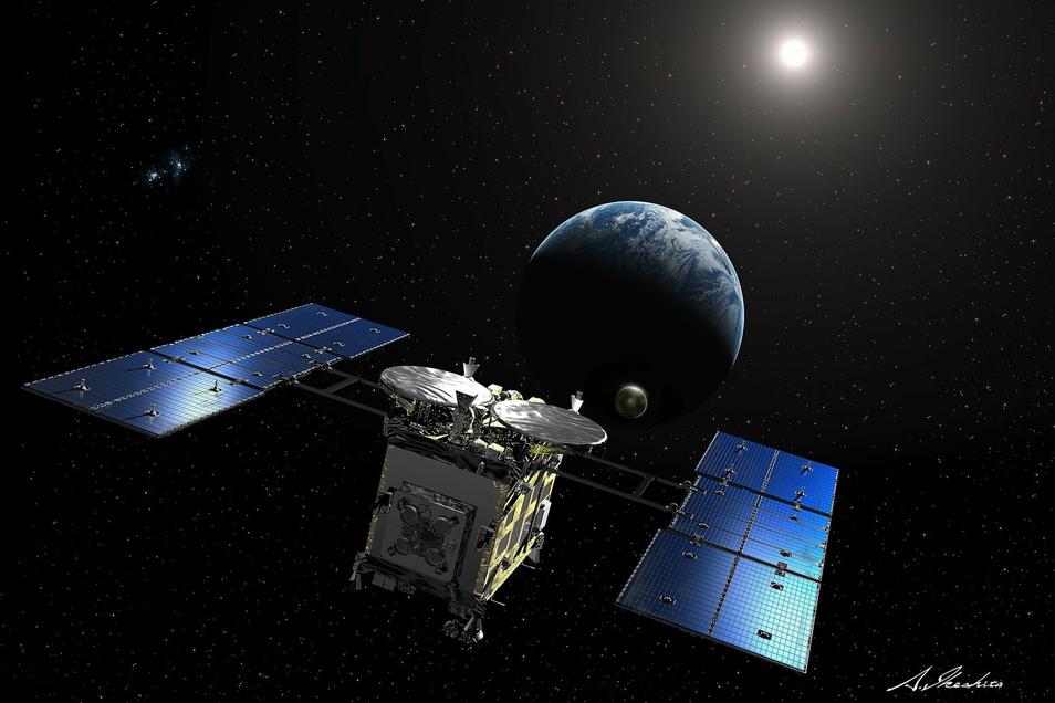 Die japanische Raumsonde «Hayabusa 2» hat im Weltall eine Kapsel mit Proben des Asteroiden Ryugu abgetrennt und sie zur Erde geschickt. (undatierte Illustration)