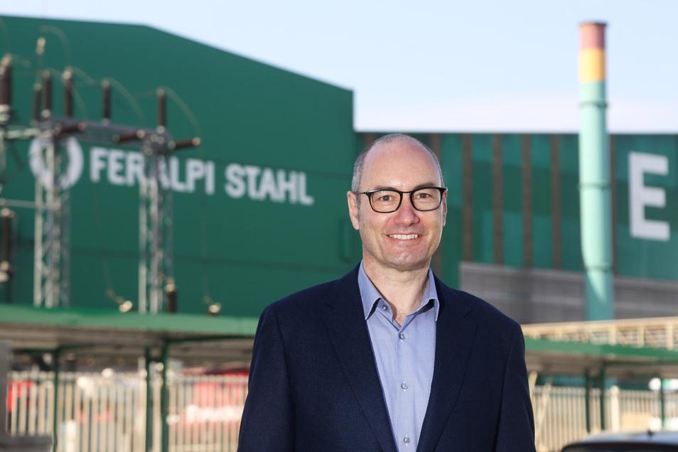 Christian Dohr leitet seit Anfang 2020 das Unternehmen ESF Elbe-Stahlwerke Feralpi in Riesa.