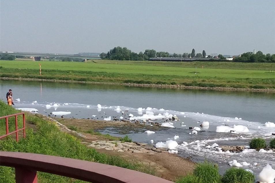 Der Schaum fließt in die Elbe.
