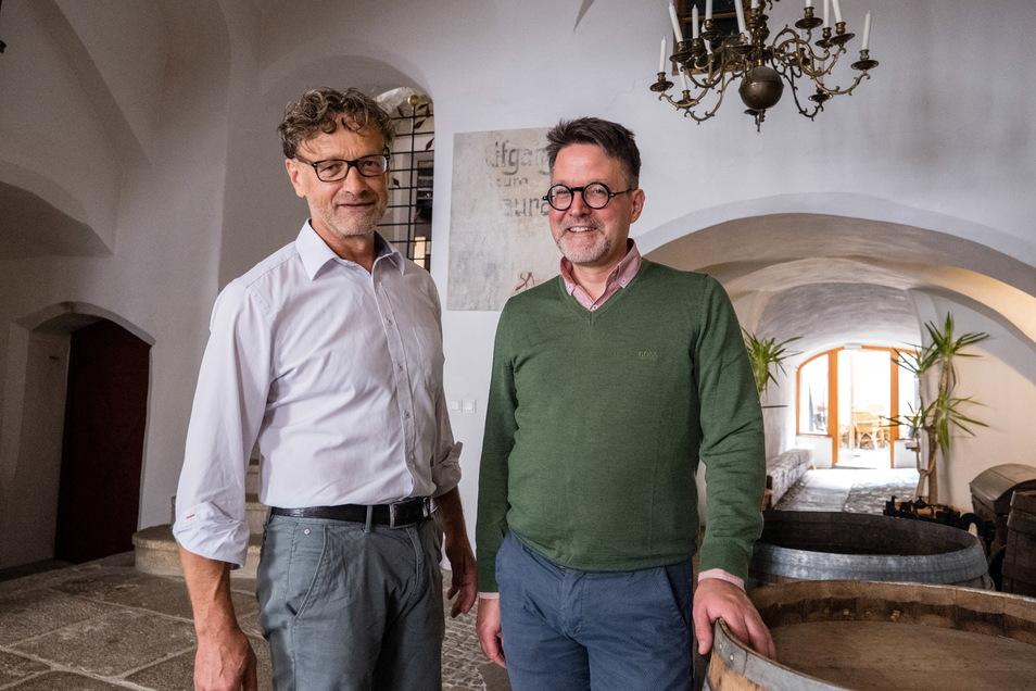 Vor gut 20 Jahren entschieden sich der Kunsthistoriker Marius Winzeler (rechts) und der Bauhistoriker Hartmut Olbrich für Görlitz, obwohl sie meist anderswo arbeiten.