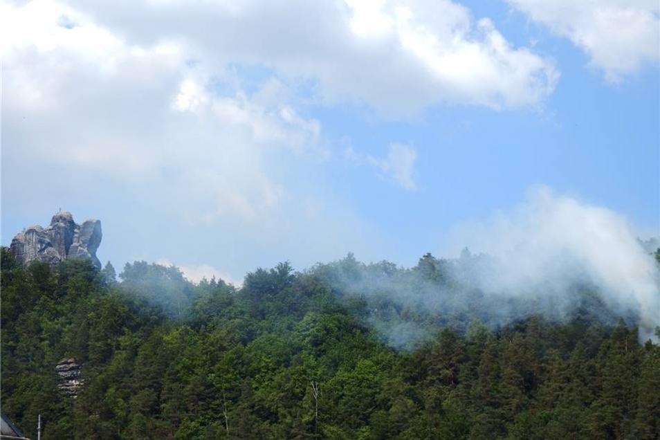 Das Feuer frisst sich im Waldboden weiter.