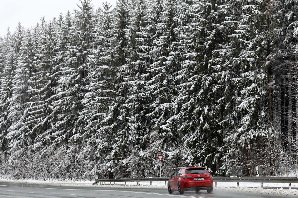 in Auto fährt auf einer Landstraße durch den verschneiten Wald bei Einsiedel.