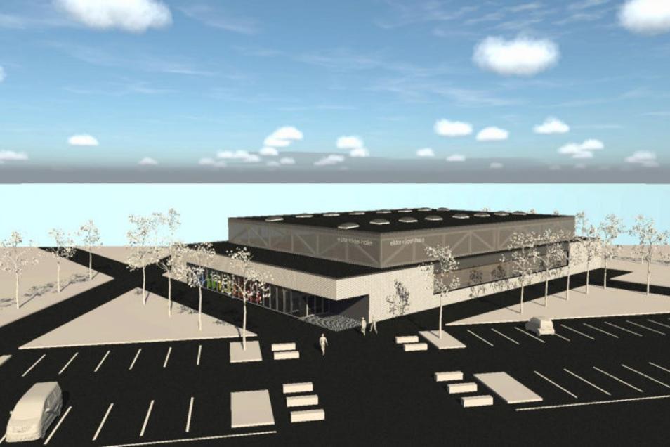 Dieser Entwurf für die neue Zwei-Feld-Sporthalle am Eichenhain wurde Anfang 2018 vorgestellt.