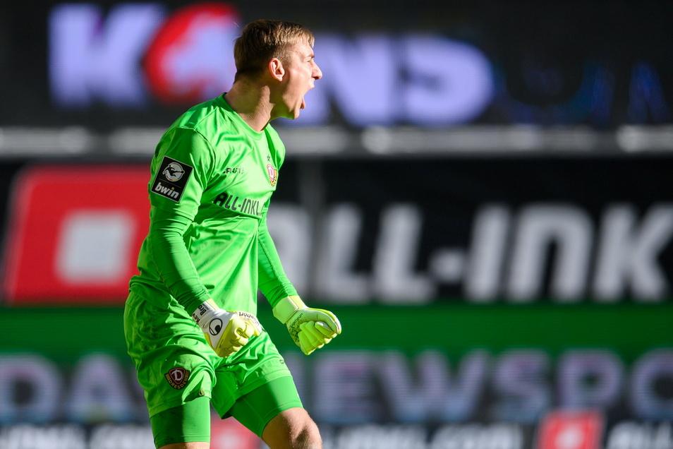 Der beste Torwart der 3. Liga, zumindest der mit den meisten Zu-Null-Spielen: Dynamos Kevin Broll. Sein Einsatz gegen Saarbrücken war kurzzeitig fraglich.