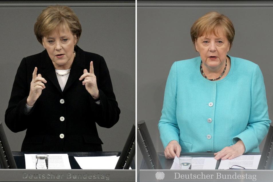 Bundeskanzlerin Angela Merkel (CDU) bei ihrer ersten Regierungserklärung (l) am 30.11.2005 und bei ihrer letzten Regierungserklärung im Bundestag.