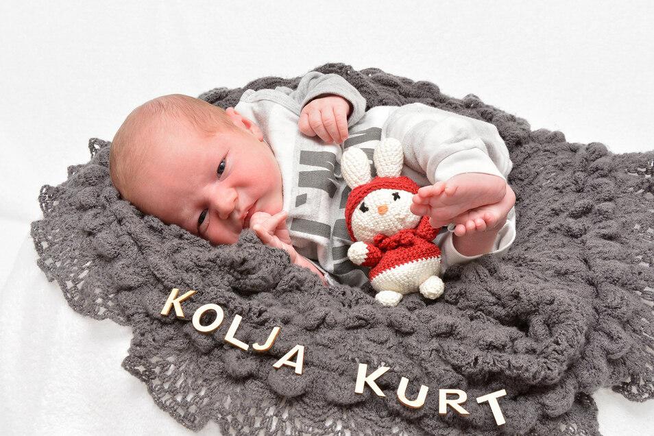 Kolja Kurt Weckebrod, geboren am 29. Januar, Geburtsort: Städtisches Krankenhaus Dresden-Neustadt, Gewicht: 3.570 Gramm, Größe: 52 Zentimeter, Eltern: Annett Weckebrod, Wohnort: Dresden