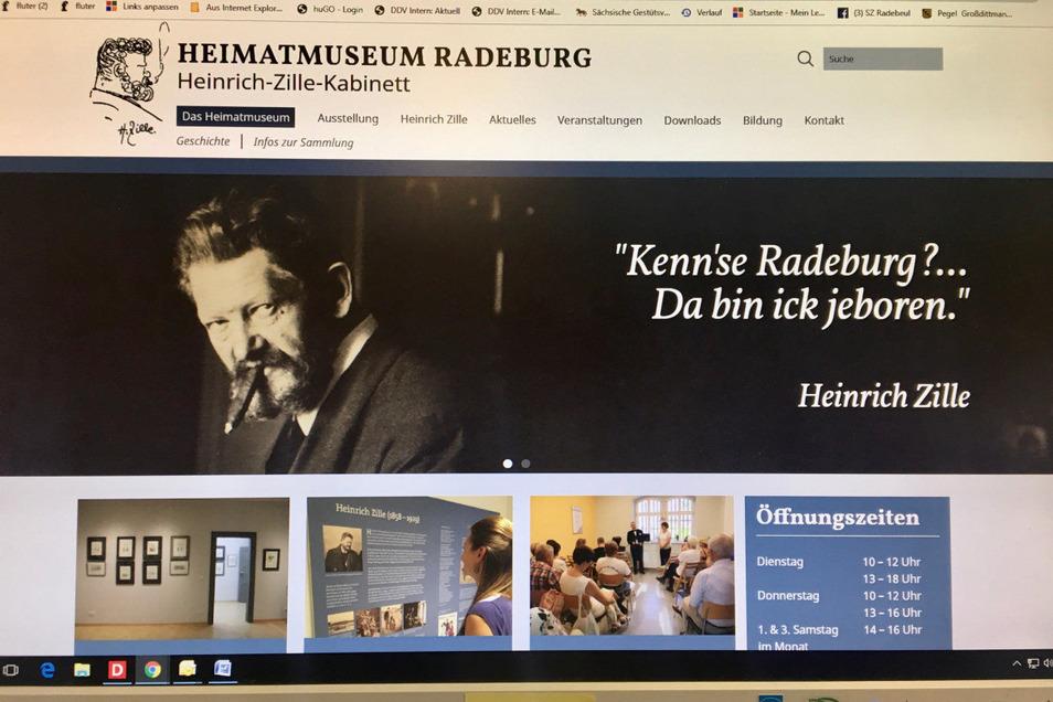 Die Startseite der neuen Homepage des Heimatmuseums Radeburg.