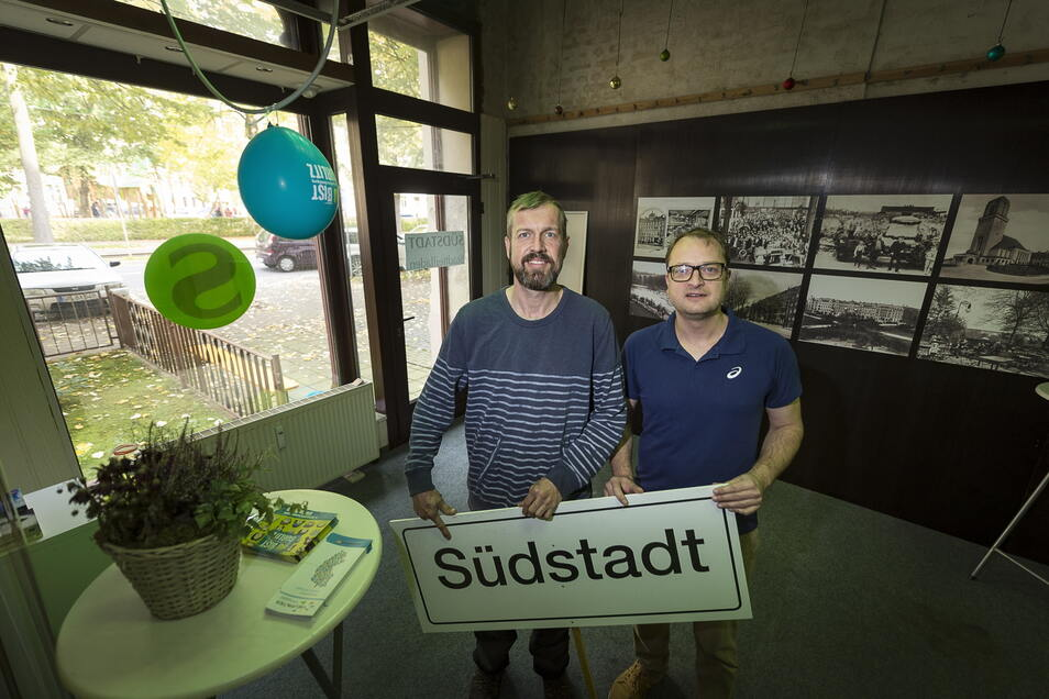 Der Bürgerrat Südstadt gilt als einer der engagiertesten Bürgerräte in Görlitz. Hier wurde sogar ein Stadtteiladen eröffnet - im Bild die Räte Uwe Lehmann (l.) und Daniel Breutmann.