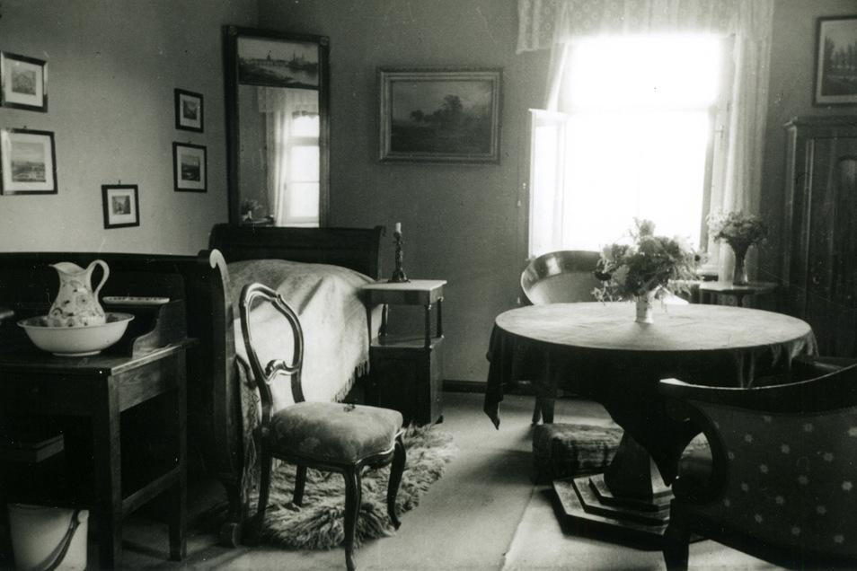Das Sterbezimmer von Käthe Kollwitz in Moritzburg, 1945