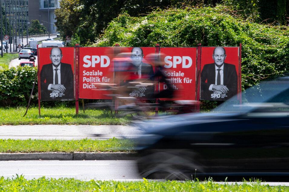 Wahlplakate von Olaf Scholz (SPD) stehen an einer Straße in München. Laut einer Umfrage würden sich 29 Prozent der Befragten den SPD-Politiker als Kanzler wünschen, 15 Prozent wären für Baerbock, 12 Prozent für Laschet.