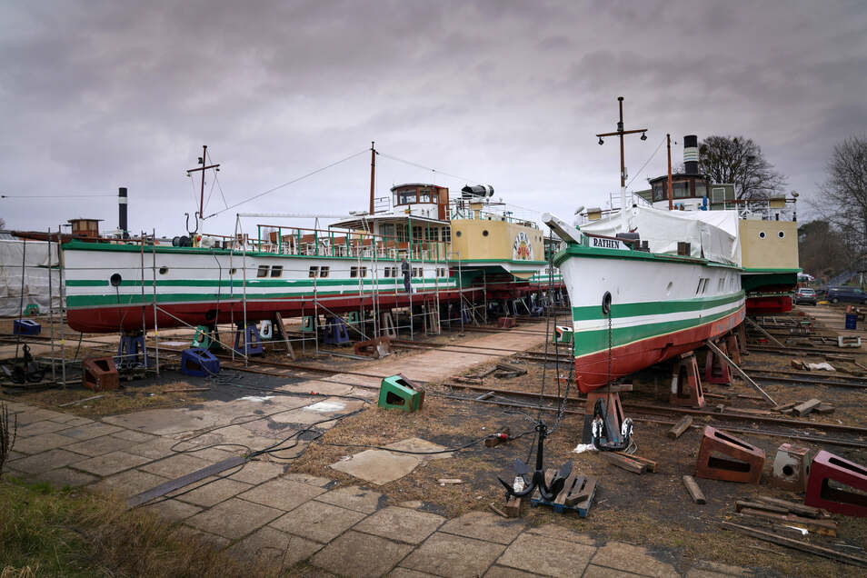 Hier in Laubegast, wo die Dresdner Schiffe repariert werden, könnte künftig wenigstens auch ein Teil der Flottenverwaltung zu Hause sein.