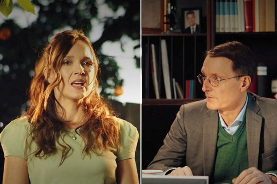Der Kombo aus zwei Screenshots zeigt Carolin Kebekus und Karl Lauterbach in einer Szene des Videos