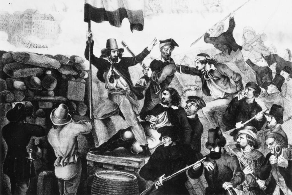 Anfang Mai 1849 kam es in Dresden zu Straßenkämpfen.