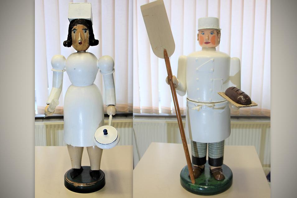 Die Krankenschwester und der Bäcker sind zwei der 15 Figuren der Roßweiner Stadtpyramide.