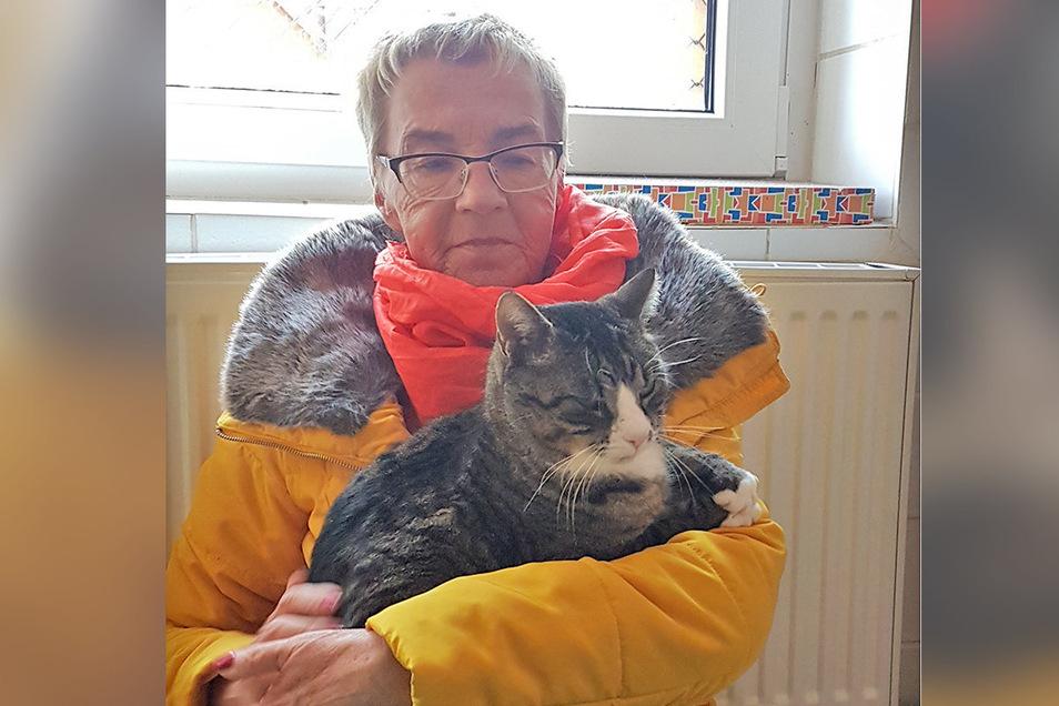 Christel Otto arbeitet ehrenamtlich im Tierheim Pirna. Ihrem Lieblingskater Purzi geht es gut.