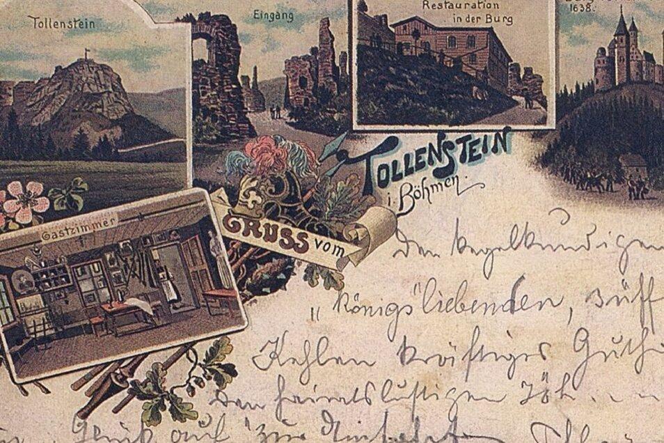 Der Tollenstein wurde im 19. Jahrhundert immer mehr ein beliebtes Ausflugsziel. An der Bewirtung der Gäste wurde nicht gespart, wovon auch diese historische Postkarte zeugt.
