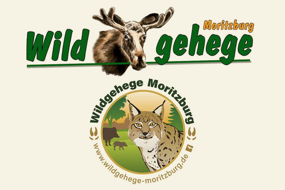 Das alte Logo des Wildgeheges mit dem Elch ist Geschichte (oben). Auf dem neuen ist das bisherige Wappentier der Einrichtung nicht mehr abgebildet (unten).
